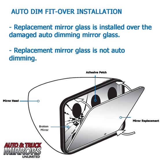 Mirror Glass Replacement + Full Adhesive for Aud-4