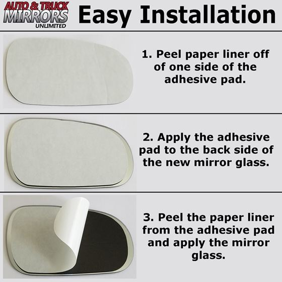 Mirror Glass Replacement + Full Adhesive for 12-2
